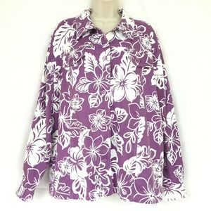 Alfred Dunner 24 Button Down Top Purple Floral